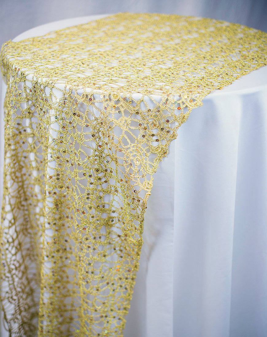 Linen - Gold Chain Lace Sequin - Main Street Weddings & Events