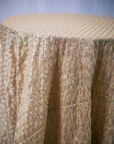 Linen - Gold Vortex Sequins - Main Street Weddings & Events