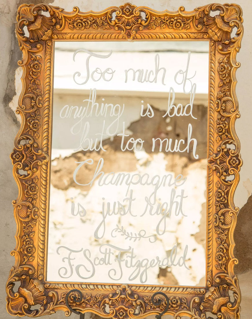 Decor - Large Gold Framed Mirror - Main Street Weddings & Events