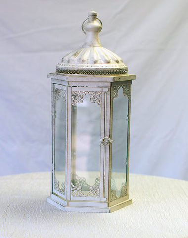 Decor - Large White Lantern - Main Street Weddings & Events