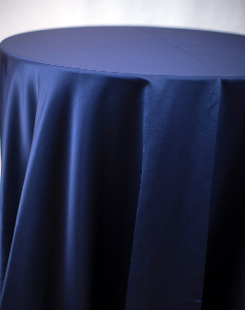Linen - Navy Blue Matte Satin - Main Street Weddings & Events