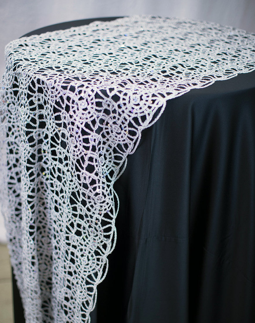 Linen - Silver Chain Lace Sequin - Main Street Weddings & Events