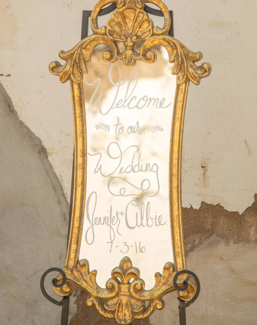 Decor - Small Gold Framed Mirror - Main Street Weddings & Events