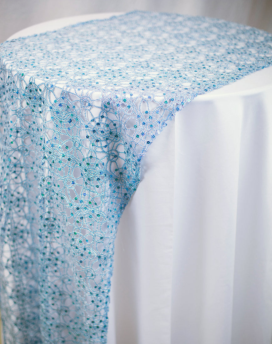Linen - Turquoise Chain Lace Sequin - Main Street Weddings & Events