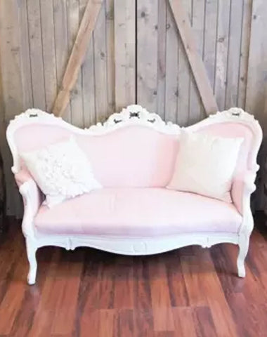 Seating - Vintage Blush Loveseat - Main Street Weddings & Events
