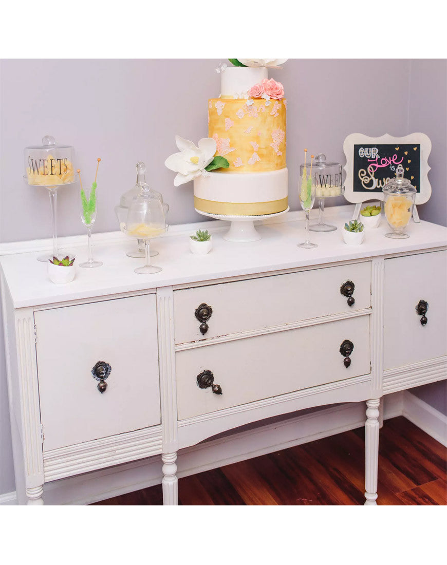 Table - Vintage White Sideboard - Main Street Weddings & Events