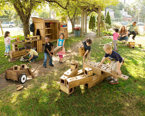 outlast outdoor wood blocks play early childhood classroom learning regio inspired community playthings