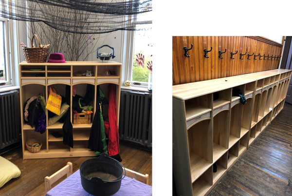Community playthings cubbies from louise kool and galt in a pre-school entry and dramatic play area