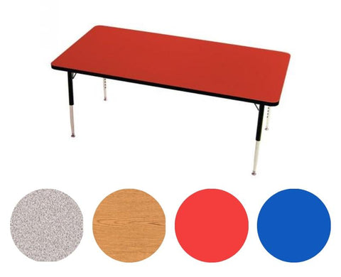 "Adjustable Tables - 4 Seat Rectangle (24"" x 48""): Preschool Legs - louisekool"