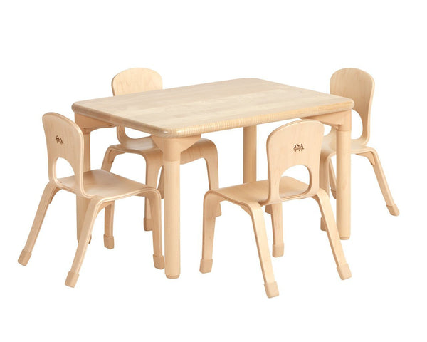 "Community Playthings Rectangulr Woodcrest Table 18"" and Four Chairs 10"" - louisekool"