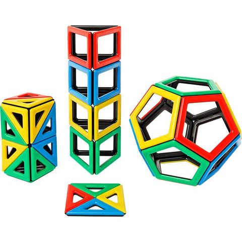 Magnetic Polydron New Shapes Set - 48 Pieces - louisekool