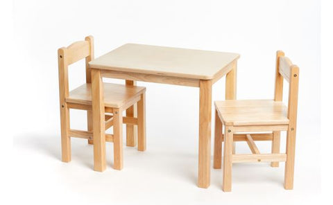 Natural Wood Table with Two Chairs - louisekool