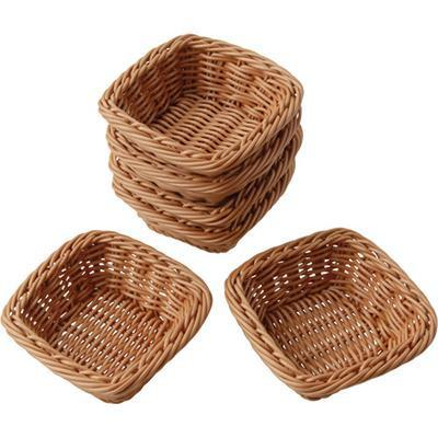 Square Plastic Woven Baskets - Set of 6 - louisekool