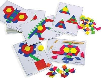 Tangram Pattern Block Picture Cards - Set of 20 - louisekool