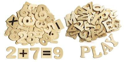 Wood Letters and Numbers - 200 Pieces - louisekool