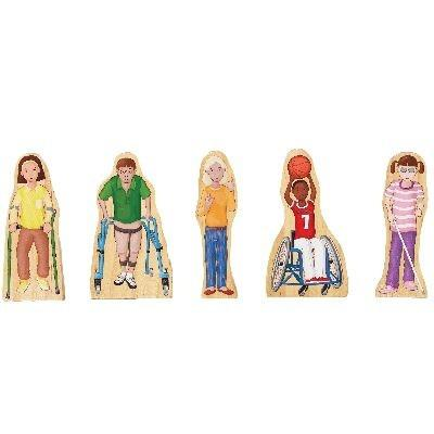 Wooden Block Play People - Diverse Abilities Children Set of 5 - louisekool