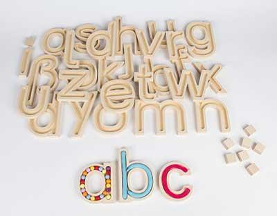 Wooden Lowercase Letters - Set of 29 - louisekool