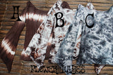 Tie Dyed Flare Sleeve Tops (3colors)