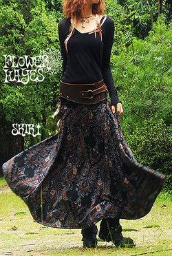 Print Knit Long Skirt