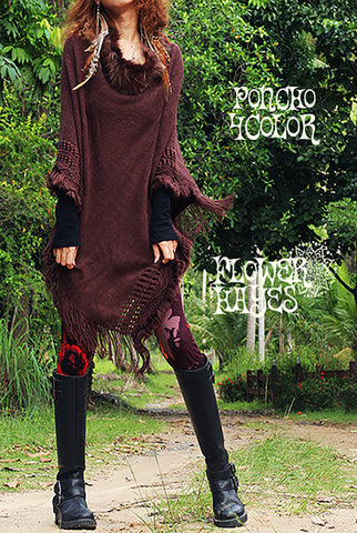 Knit Boho Poncho (4colors)