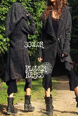 Pixie Big Hooded Knit Coat (3colors)