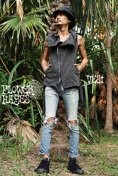Big High Collar Zipper Vest (3colors)