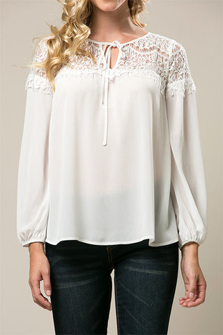 Long Sleeve White Blouse with Lace Yoke