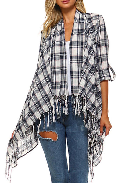 Plaid Open Front Fringe Cardigan