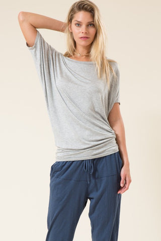 Short Dolman Sleeve Bateau Neck Fitted Waist Top