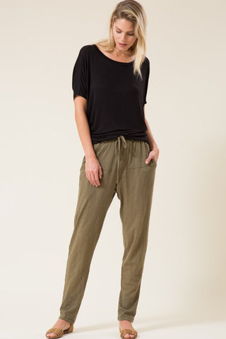 Tapered Drawstring Waist Pant with Pockets