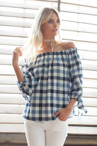 Off the Shoulder Tie Sleeve Gingham Check Top