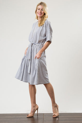 Belted Waist Bubble Stripe Dress