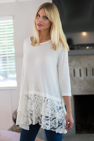 3/4 Sleeve Lace Tunic Top