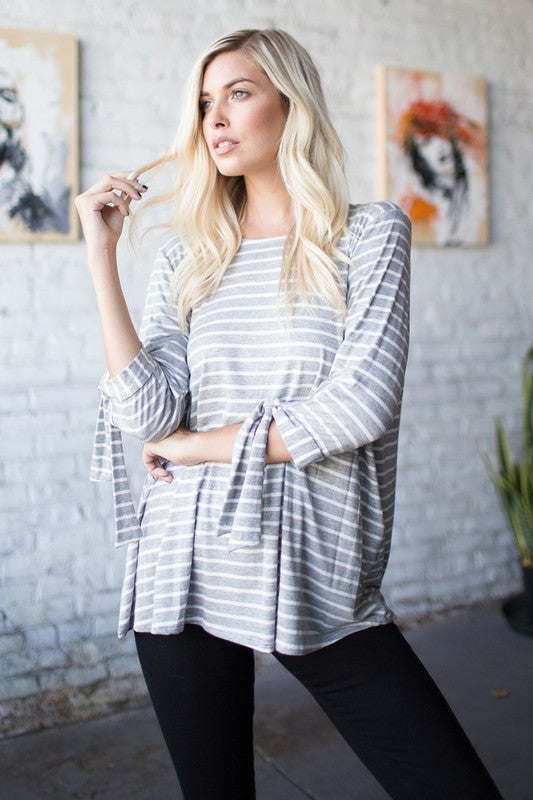 Tied Sleeve Striped Print Round Neck Loose Fit Top