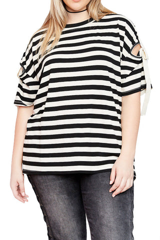 Striped Top with Self Tie Strap Detail on Shoulder (Plus)