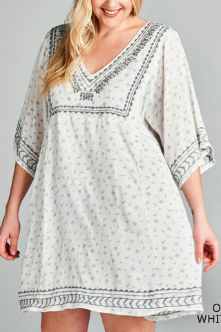 Micro Paisley Print Flare Dress with Wide Sleeves (Plus)