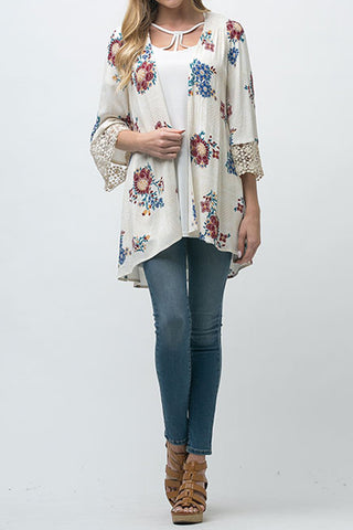 Floral Print Open Front Cardigan with Crochet Detail