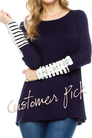 Stripes and Crochet Detail Sleeve Top - Client Pick!