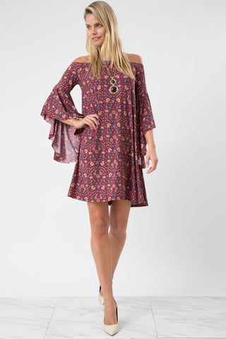 Hi-Low Bell Sleeve Off the Shoulder Dress