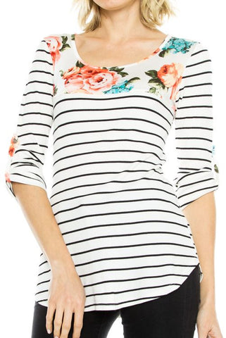 Floral Print Contrast Stripe 3/4 Sleeve Knit Top