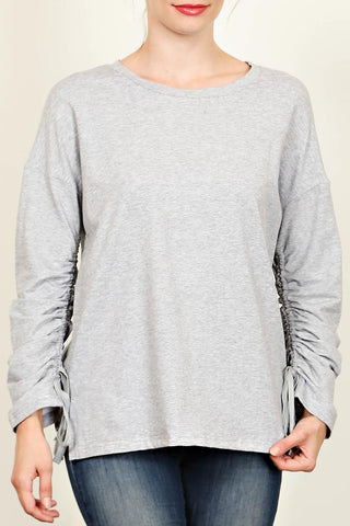 Gathered Long Sleeve Sweat Shirt