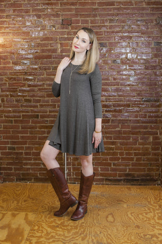 Long Sleeve Jersey Swing Dress
