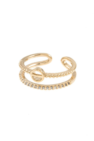 Round Double Row Cuff Ring
