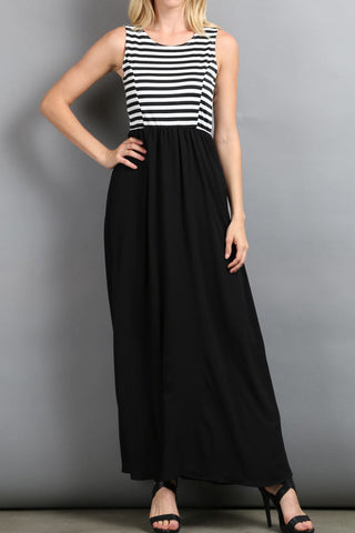 Stripe Jersey Knit Tank Maxi Dress