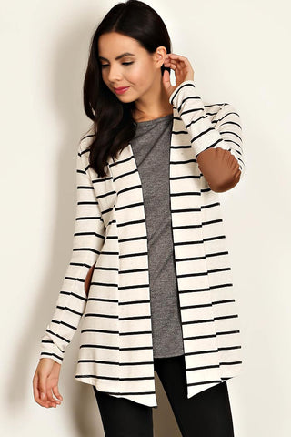 Striped Cardigan with Patch Elbow Detail