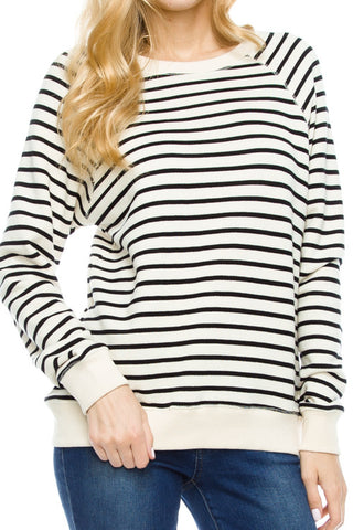 Striped Long Sleeve Round Neck Detail