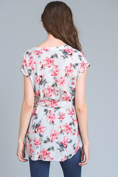 Floral Print Top With Self Tie Waist