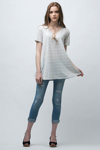 V-Neck Stripe Swing Tee
