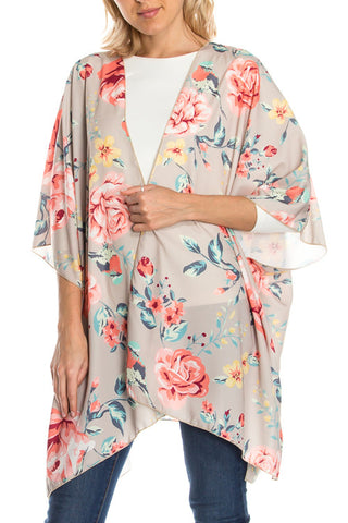 Floral Print Kimono Cardigan with Side Slits