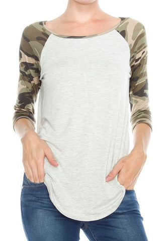 Camouflage Printed Sleeve Top